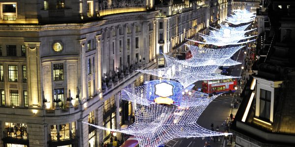 General view of the Regent Street Christmas Lights in central London. Crowds gathered on a traffic-free street for a free hour-long show before the lights were switched on. Picture date: 9 November 2010. M Crossick/PA Wire