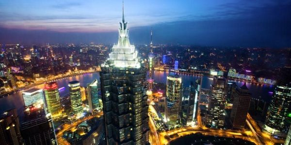 Jin Mao Tower and city views in Pudong, skyline, Shanghai, China