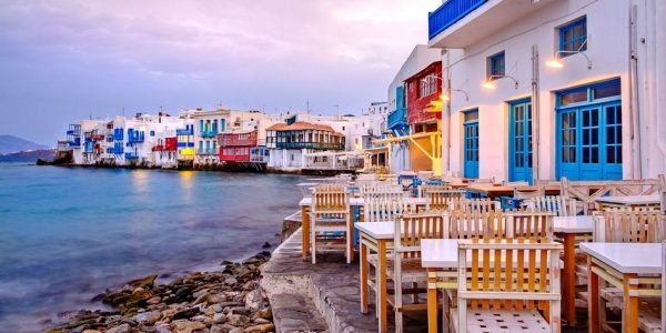 Beautiful sunrise at Little Venice on Mykonos island, Cyclades, Greece